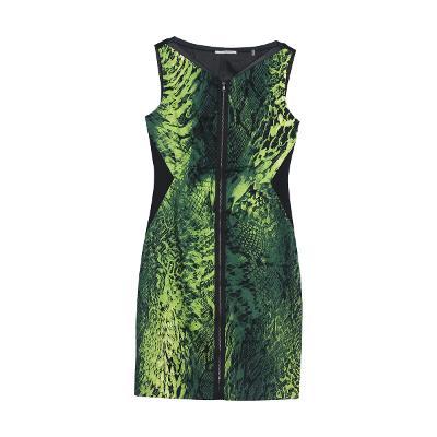 python front zipper dress green